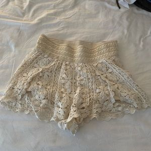 TopShop Cream Laced Shorts